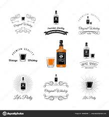 alcohol vector bottle and glasses alcohol elements tequila champagne whisky