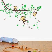 playing monkey tree wall stickers cute cartoon decals kids monkey forest wall stickers cute tree cartoon decals kids children bedroom fashion decor good quality hot selling home decorations