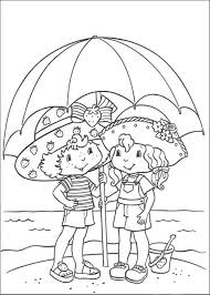 strawberry shortcake coloring page summer in the beach cartoon