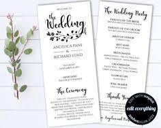 tea length wedding program template tea length rustic wedding program template kraft wedding