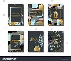 Black Card Invitation Set Creative Universal Cards Background Hand Stock Vector