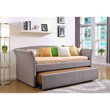Linen Daybed Daybed Twin Bed Frame With Trundle Upholstered Grey Linen