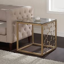 Quatrefoil Table L The Curated Nomad Quatrefoil Goldtone Metal And Glass End Table