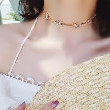 short necklace chains images C24906 short necklace simple purple rhinestone stars chain choker jpg