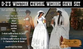 second life marketplace d z u0027s western cowgirl wedding gown set