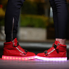 light up shoes gold high top adults usb charging light up high top shoes red with gold straps sale