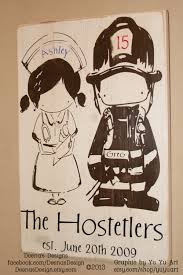 firefighter sign firefighter decor nurse sign distressed
