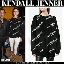 jenner sweater kendall jenner in black logo print sweater and white in