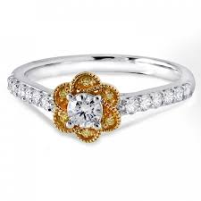 two tone gold engagement rings gold two tone flower ring