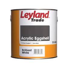 leyland trade acrylic eggshell paint brilliant white 2 5l