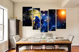 5 piece wall decor space multi panel art earth sun canvas