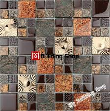 Metallic Tile Backsplash by Metal Tile Backsplash Golden Glass Mosaic Kitchen Wall Tiles