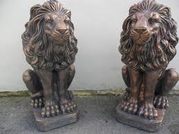 lions for sale two lion garden ornament statue bronze finish ebay