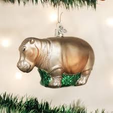 world hippopotamus glass blown ornament