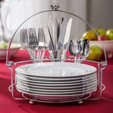 plates and flatware holder caddy buffet style server service for