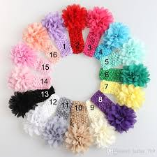 crochet band baby headwear flower hair accessories 4 inch chiffon flower