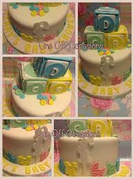 unisex baby shower cake with building blocks incorporating my
