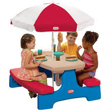 little tikes easy store picnic table little tikes easy store table with umbrella walmart com