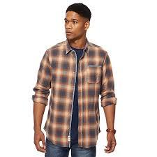 mantaray clothing debenhams mantaray mens orange and navy ombre checked shirt