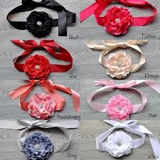 2017 satin ribbon flower belt big flower belt peony silk flower