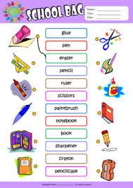 schoolbag esl printable worksheets for kids english vocabulary