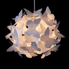 girls pretty white butterfly ceiling pendant light lamp shade