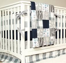 Plaid Crib Bedding Woodland Nursery Bedding Set Deer Crib Bedding Navy Blue Gray