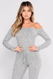 gray jumpsuit shoulder jumpsuit grey