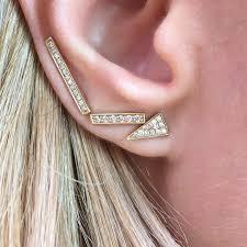 diamond stud on tooth 14k white gold diamond pave bar stud earrings
