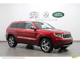 jeep mercedes red 2011 jeep grand cherokee overland 4x4 in inferno red crystal pearl