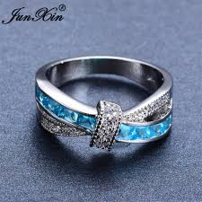light blue rings images Junxin light blue cross ring fashion white black gold filled jewelry jpg