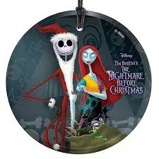 nightmare before santa and sally glass print