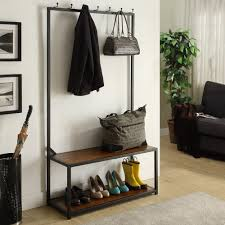 black metal and wood entryway bench hall tree bench tree bench