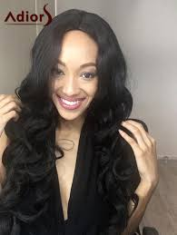 long adiors shaggy wavy centre parting synthetic wig black in