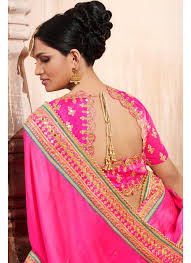 color designer radiant mustard and pink color designer party wear saree with