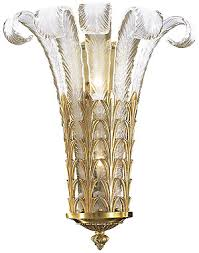 Art Glass Sconces Art Deco Plume Glass Sconce With French Gold Finish House Of