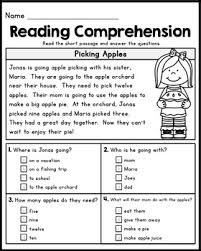 free grade reading comprehension passages set 1 work - Reading Passage 1st Grade