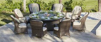 8 Seat Patio Dining Set - 8 seat round gas firepit dining table eton chair