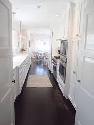 kitchen stunning white galley kitchen design with darkwood