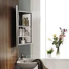 luxury stainless steel wall corner mirror storage cupboard benevola