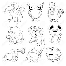illustration of animals set vector outline royalty free cliparts