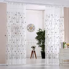 Blue Sheer Curtain Beautiful Decorative Floral Pattern Linen Cotton Blend White And