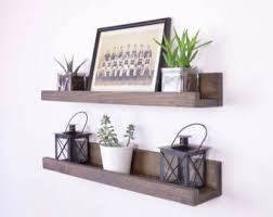 Wood Shelf Gallery Rail rustic wall shelf etsy