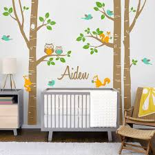 Personalized Wall Decals For Nursery Owl Squirrel Birch Tree Wall Stickers Personalized Name