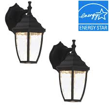 Hampton Bay Outdoor Light Fixtures by Hampton Bay Black Outdoor Led Wall Lantern 2 Pack Hb7024 05tp