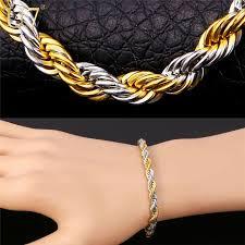gold bracelet rope images 2018 hiphop two tone gold bracelet men jewelry 2015 new 18k real jpg