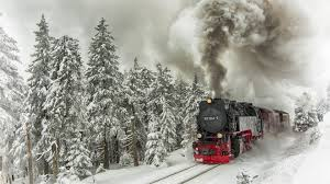 trees rails winter train trees engine ate composition smoke snow