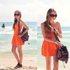 natalie a hollister orange dress minnetonka fringe sandals
