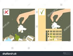 set two images hand throwing rubbish stock vector 449342776