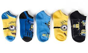 Minion Socks Adults Despicable Me Little Boys Boys Minion Face 5 Pack Socks Blue 5 6 5